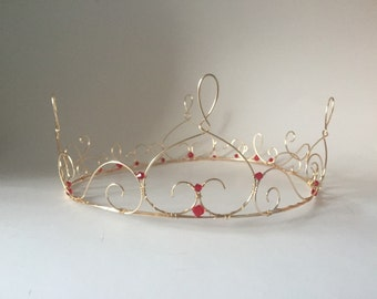 Gold Wire Crown with ruby red crystals