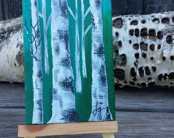 BIRCH TREE Acrylic Painting - ACEO Wrapped Canvas, Miniature Art, Small Format Art Blue Green Background, Nature Art