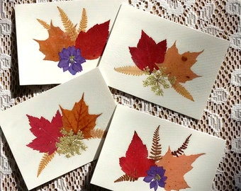 BLANK NOTE CARDS - Set of 4 Pressed Flowers and Fall Foliage Cards, Preserved Flowers & Autumn Leaves, Blank Botanical Cards