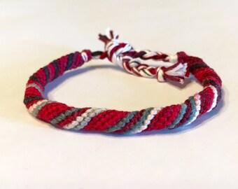 Crimson, Grey and Cream - Cylinder Friendship Bracelet