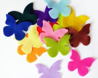 Felt Butterflies Medium. Set of 20 pieces. Die Cut Shapes, Applique, Party Supply, DIY Wedding