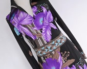 ORCHID DREAMS . Breath-Taking Bright Colorful Art Nouveau Border Print Midi Dress 70s Long Sleeves s