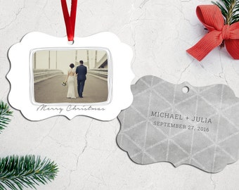 Personalized Photo Christmas Tree Ornament - Double Sided with Ribbon - PG-811