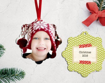 Personalized Photo Christmas Tree Ornament - Double Sided with Ribbon - PG-558