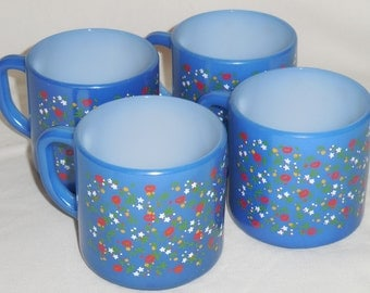 Federal Glass Blue with Floral Floral Print Coffee Mugs