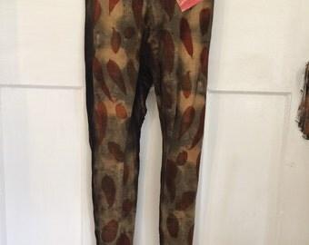 Naturally dyed eco print merino wool leggings eucalytus dye size XSMALL