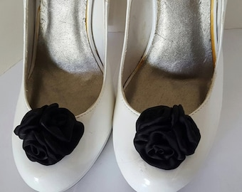 Black Wedding Shoe Clips,Rose Shoe Clips,  Roses,Bridal Shoe Clips, Black   Shoe Clips, Clips for Wedding Shoes, Bridal SHoes