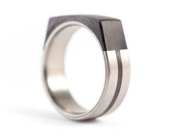 Men's titanium and carbon fiber ring. Faceted design black wedding band. Water resistant, very durable and hypoallergenic. (00321_7N)