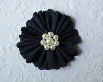 "Navy Fabric Flower, Pearl Center. 2.5"". 1 Flower ~Annalea Collection"