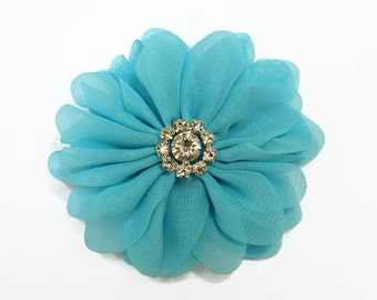 "Blue Chiffon Flowers. 3"" Chiffon Flowers with Glass Rhinestone Center. QTY: 1 Flower ~Brea Collection"