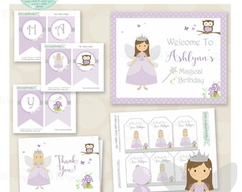 Fairy princess Birthday Party Package- DIY Printable PDF files