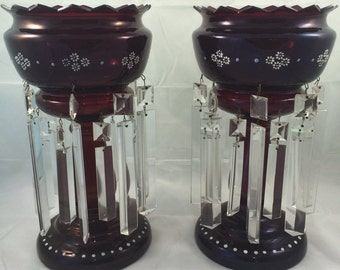 Antique Pair of Ruby Glass Lusters with Enamel Paint Prisms...Victorian Mantel Fireplace Centerpiece Early Lighting Candlelight Elegant