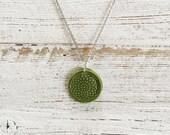 Ceramic Mandala Pendant, Green, Unique Gift, Zen, Boho, Gift for Her, Ceramics, Mandalas, Unique Jewelry, Ceramic Jewelry