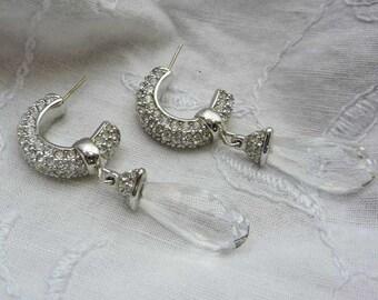 Vintage Swarovski Crystal Silver Tone Pierced Earrings #N850.69S