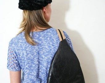 ON SALE Vintage Gucci Black and Tan Leather Backpack Rucksack Bodybag Sling Purse
