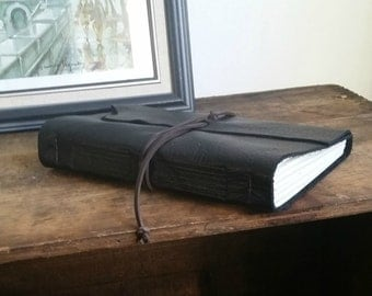 """Handmade Leather Journal, 6"""" x 9"""" Black Journal by The Orange Windmill on Etsy 1604"""