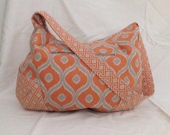 Hobo Bag, Orange and Gray Shoulder Bag, Zippered Hobo Bag, Handmade Canvas/Fabric Bag