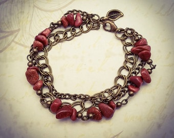 Sandstone Gemstone and Bronze Layered Boho Chain Bracelet - [B24]