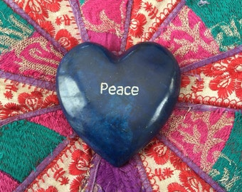 Peace Marble Heart, altar decor, paper weight, stone heart, Valentines Day gift, love stone