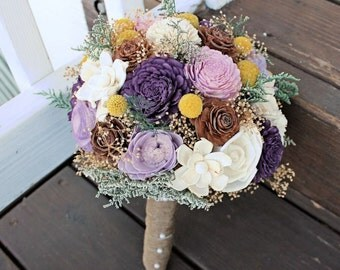 Alternative Wedding Bouquet - Purple Wedding Craspedia, Billy Buttons, Sola Flowers, Pine Cones, Ivory and Yellow