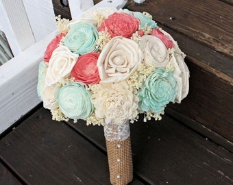 Ready to Ship! Natural Wedding Bouquet- Coral Mint Ivory Bridal Bridesmaid Bouquet, Rustic Wedding, Alternative Bouquet, Keepsake Bouquet