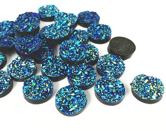 30pcs Wholesale Resin Cabochons 12mm Round Dark Blue Color Resin Metallic Druzy Cabochon Glitter Resin Cabochons 304-2