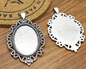 Cabochon Base -5pcs Antique Silver Cabochon Setting Bezel Tray Charm Pendants 25x35mm M506-5