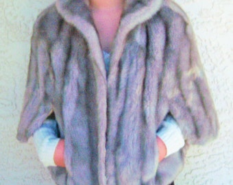 Vintage Light Gray Faux Fur Stole By Sears Fashions Cape Wrap Jacket Coat Grey 1970's Fake