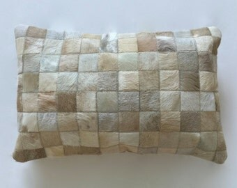 Cowhide Lumbar Pillow - Beige Patchwork Cushion - 23 x 14 in