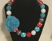Red, White, and Blue Chunky bead necklace