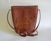 Vintage Boho Medium Woven Leather Tote Bucket Bag - Cognac Brown - Crossbody