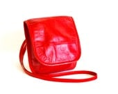 Vintage Across Body Bag - Red Leather Small Crossbody Rainproofed Purse by J Duren