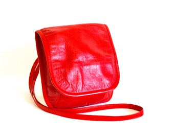 Vintage Across Body Bag - Red Leather Small Crossbody Rainproofed Purse by J Duren
