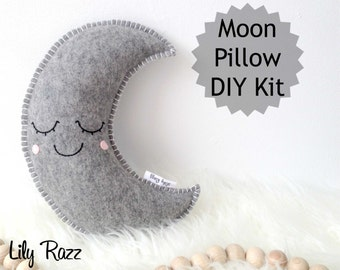 Grey Moon Pillow DIY KIT,  Moon Sewing Kit, Make your own moon softie. Product ID: Lrz1004