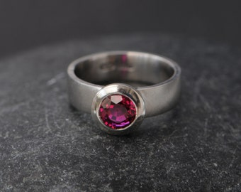 Solitaire Ruby Ring  - Synthetic Ruby Ring in Platinum - Platinum Ruby Engagement Ring - Ruby Statement Ring - Made to Order - FREE SHIPPING