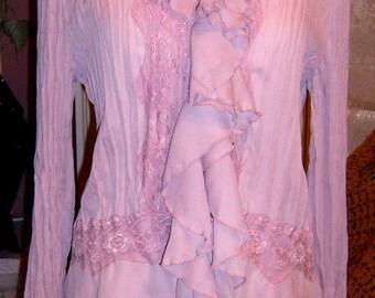 Vintage, Boho, Stevie Nicks Inspired, Women's Blouse, Ruffle Blouse, Flounce Sleeves, Lavender Blouse