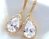 Bridal Earrings Large Halo White Clear Pear Shaped Cubic Zirconia with Gold Plated CZ Earrings