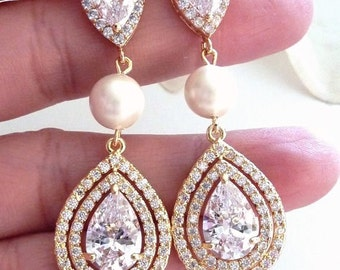 Bridal Earrings 3 Drops Large Clear Long Peardrop Round Cubic Zirconia, Pearl  and Large Yellow Gold Plated CZ Peardrop Post Earring