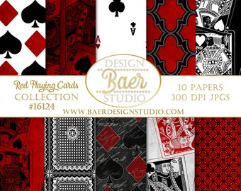 Sale:Red Playing Card Digital Paper, Digital Paper Gaming, Grunge Casino Digital Paper, Poker Face Digital Paper, Mad Hatter Digital Paper