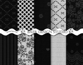 BLACK DIGITAL PAPER, Lace Digital Paper, Wedding Digital Paper, Digital Scrapbook Paper, Black Lace Digital Paper