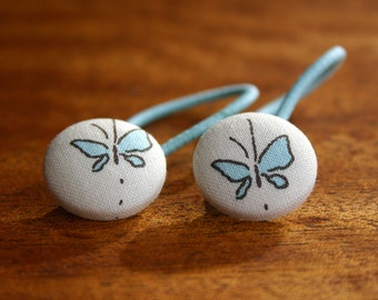 Blue Butterfly Button Hair Elastics Hair Elastic Hair Tie - Set of 2 - Ideal Gift - 23mm - Pony Tail Holder