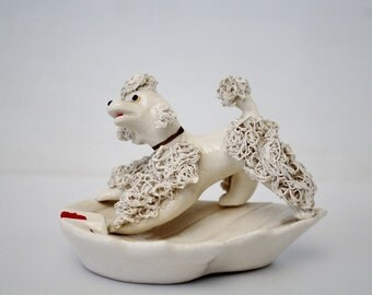 Vintage White Ceramic Spaghetti Poodle Ashtray - Ceramic Trinket Dish Ring Holder - French Poodle Figurine