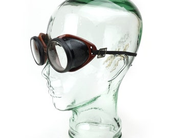 1930s American Optical Safety Goggles with Saniglass Clear Tempered Lenses
