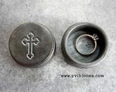 Charcoal Metallic Grey Cross Ring Box, Religious Wedding Valentines Day Jewelry Keepsake Anniversary Birthday Mothers Day Wooden Wood Box