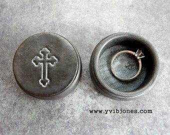 Charcoal Metallic Grey Cross Ring Box, Religious Wedding Valentines Day Jewelry Keepsake Anniversary Birthday Mothers Day Wooden Wood Box