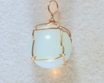 Opalite Sphere Wire Wrapped Pendant