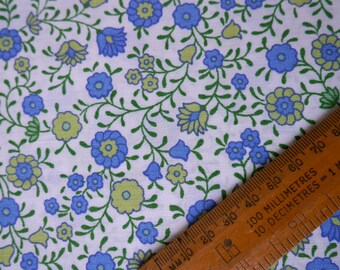 Vintage Fabric Piece, Blue and Lime Floral Print, Sewing Supplies