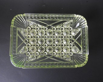 Vaseline Glass Daisy and Button Rectangle Relish Dish
