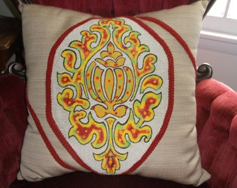 """Hand Painted Pillow, Accent Pillow Stuffed Full, 2 Fabrics, 18"""" x 18"""", 6 colors, Beautiful All Cotton Only 1 available, Color 'pop' Pillow"""