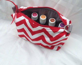 Red / Gray essential oil bag, handmade.  Holds 10 bottles (for 5ml and 10ml bottles)